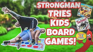 Strongman Tries Kid's Boardgames | Loser gets hair pulled out!!!