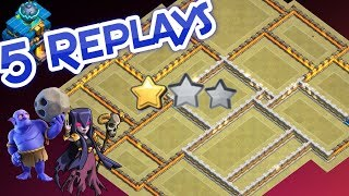 💥5 REPLAYS!💥NEW TH12 WAR BASE 2018 ANTI 2 STAR Anti Everything BoWitch Miner Anti Queen Walk Hog