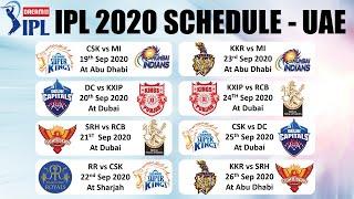 IPL 2020 UAE SCHEDULE: FULL Fixtures of ALL  IPL Teams CSK, MI, SRH, RCB, KXIP, KKR, DC & RR