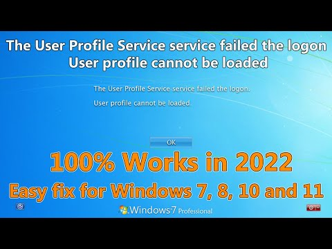 The User Profile Service Service Failed The Logon. User Profile Cannot Be Loaded