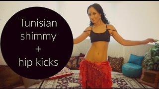 Fun belly dance combination: Tunisian shimmy and hip kicks