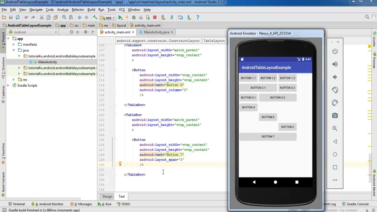 Android Layouts, Table Layout - Android Studio Tutorial for Beginners
