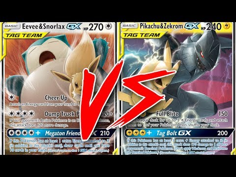 Zoroark / Eevee & Snorlax GX vs Pikachu & Zekrom GX - Pokemon TCG Tabletop Gameplay