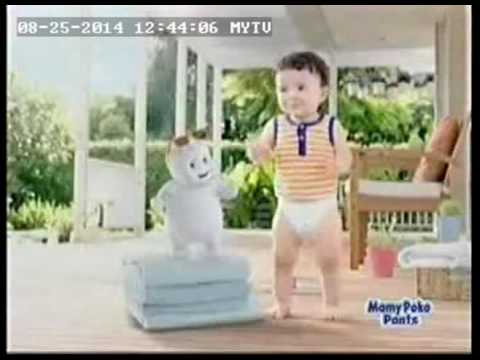 Mamy Poko Pant  Baby Dancing With Cartoon+Tag on 30s Aug 14