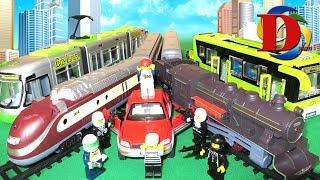 Железная дорога Поезд Метро Сапсан Мультфильмы машинки Полицейская машинка Трамвай игрушка Лего