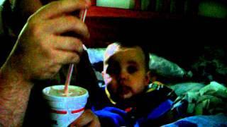 Baby Landon Eating A Watermelon Milkshake