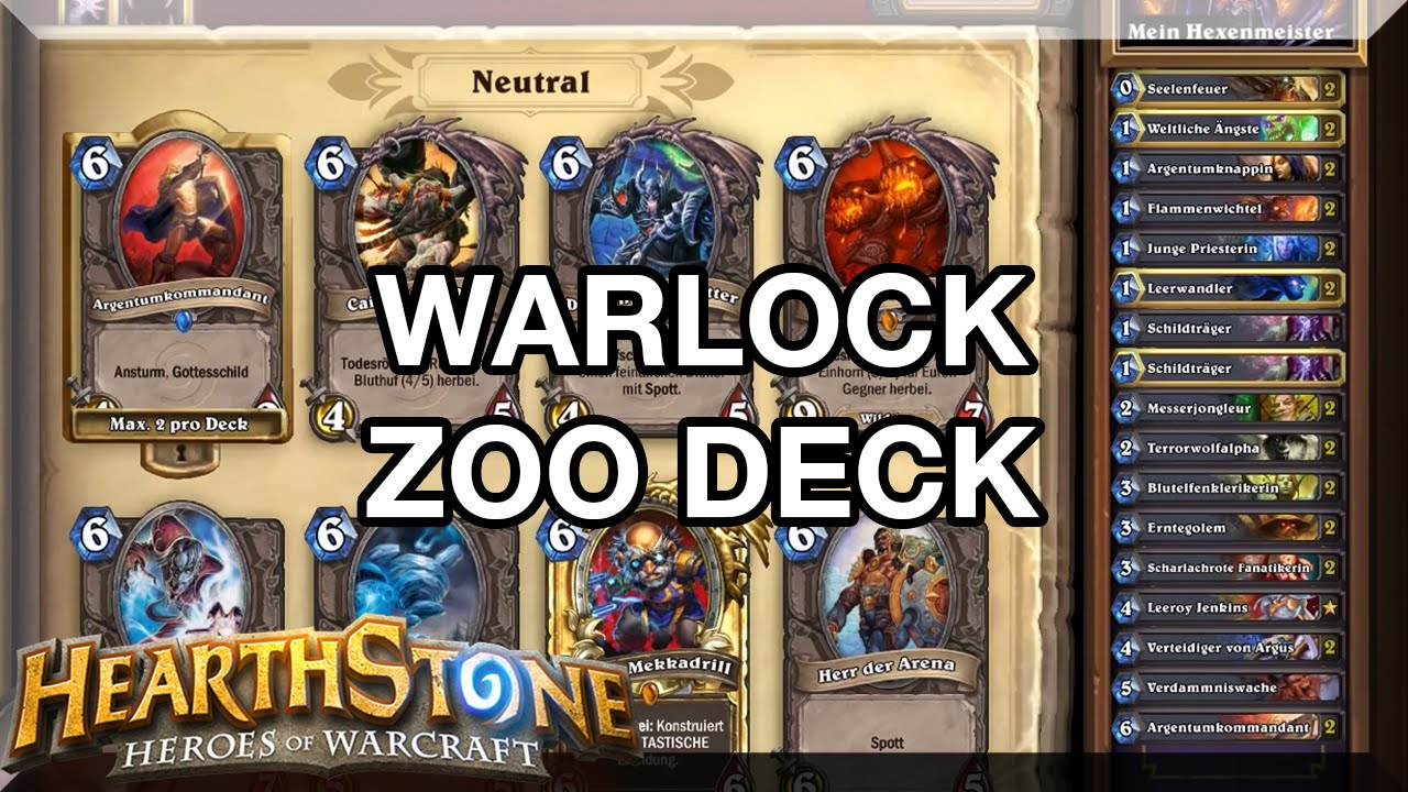 Zoo Deck Eigenschaften : Hearthstone warlock zoo deck guide german hd youtube