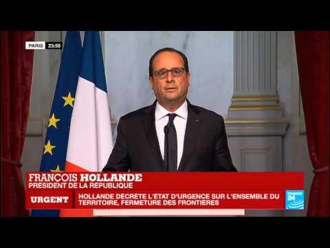 Attentats terroristes à Paris : État d'urgence décrété - Allocution de François Hollande