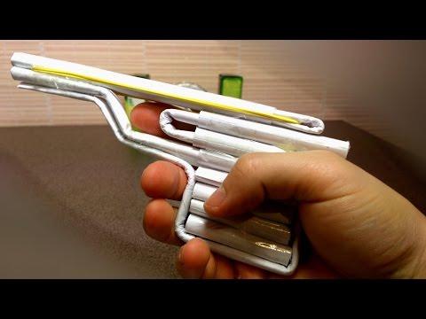 Смотреть видео как сделать пистолет из бумаги который стреляет