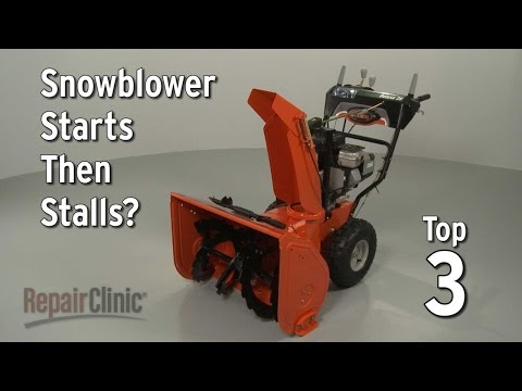 "Thumbnail for video ""Snowblower Starts Then Stalls? Snowblower Troubleshooting"""
