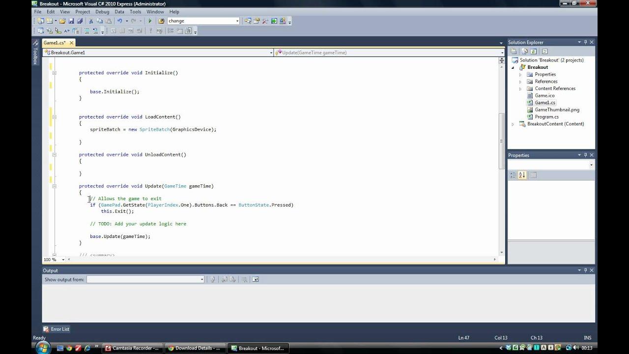 microsoft xna game studio 4.0 tutorial