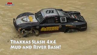 Traxxas Slash 4x4 mudding hydroplaning bashing at Tampines Trails mud and water fun!