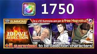 Bleach Brave Souls - Brave Selection 1750 Orbs Summons Aizen chad and Kensei