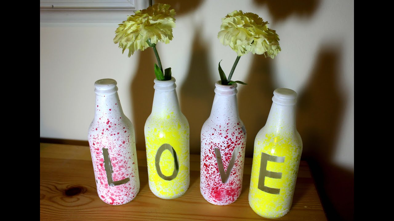 Splatter Paint Recycled Glass Bottles