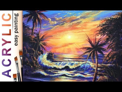 """Tropical sunset, wave and palms"" How to paint landscape🎨ACRYLIC tutorial DEMO, Christian Lassen"