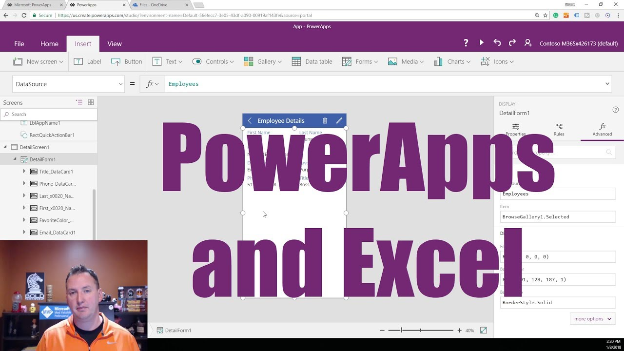 Learn to connect: PowerApps Excel Spreadsheet hosted in OneDrive