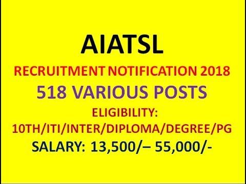 AIATSL RECRUITMENT 2018 | 518 VARIOUS POSTS |  AIR INDIA JOBS 2018 | 10TH/INTER/DEGREE/PG |