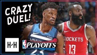 Jimmy Butler vs James Harden Game 3 Duel Highlights (2018 Playoffs) Wolves vs Rockets - CRAZY!
