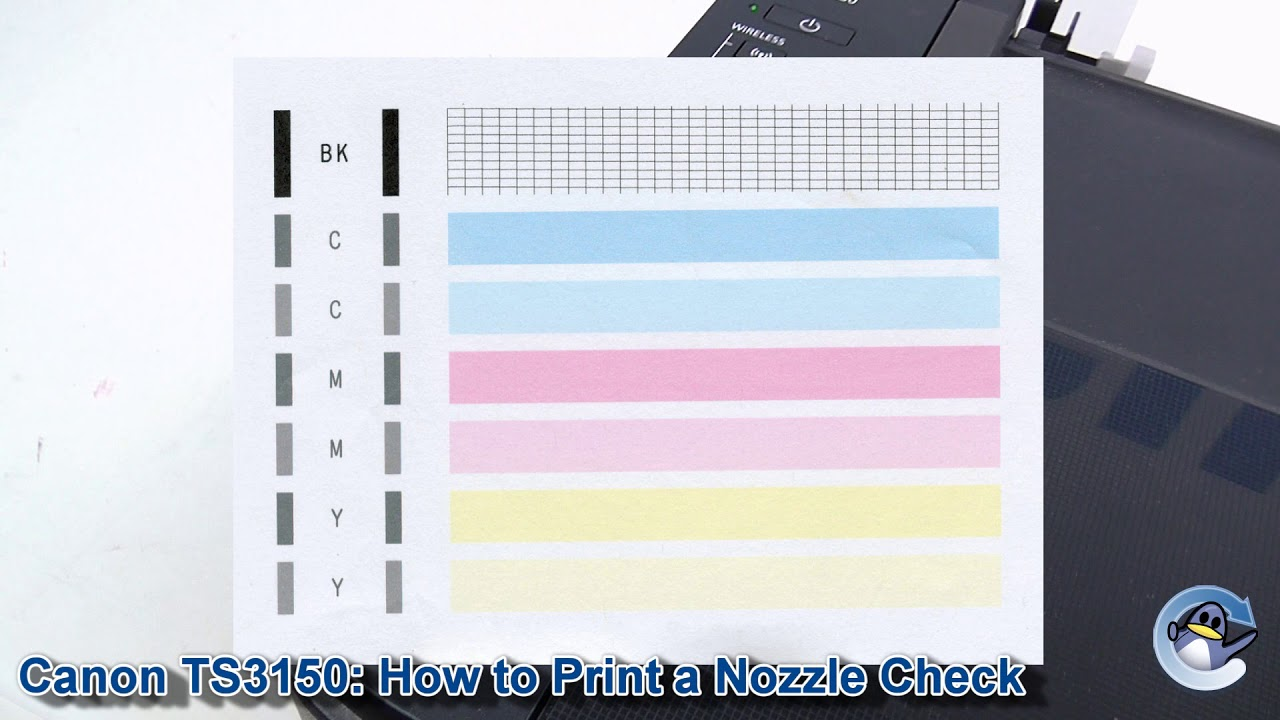 Canon Pixma Ts3150 How To Print A Nozzle Check Test Page Youtube