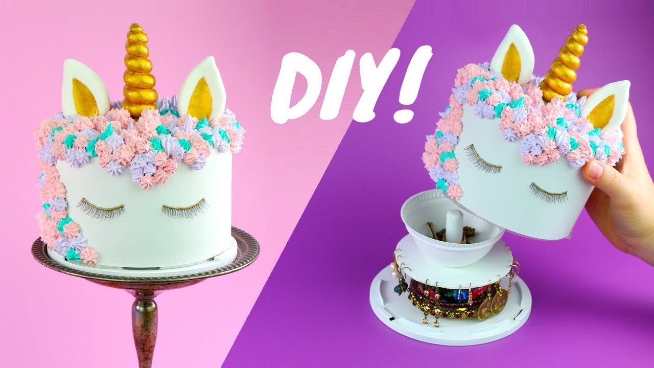 How To Make Unicorn Cake Jewelry Box Youtube