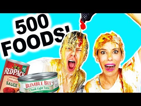 GIANT EAT IT OR WEAR IT CHALLENGE! DUMPING 500 THINGS ON OUR HEADS!