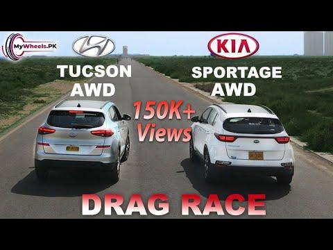 Hyundai Tucson vs Kia Sportage Drag Race  0 to 100  Mywheels.pk