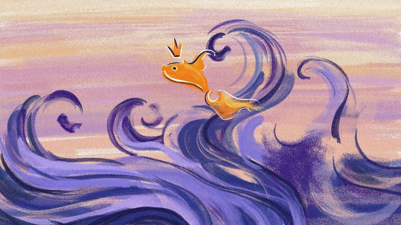 Картинка синее море и золотая рыбка