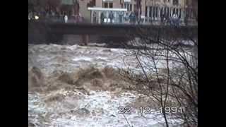 Dreisam, höchstes Hochwasser, Freiburg  Dezember 1991