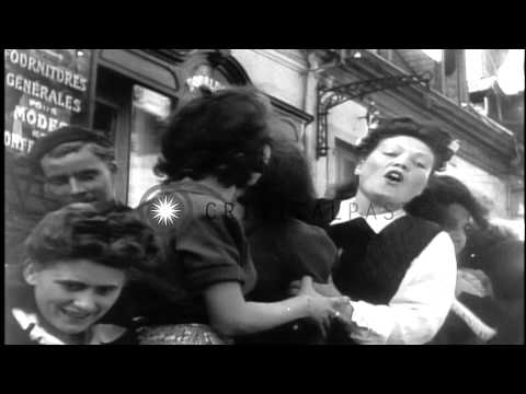 Liberated civilians cheer arrival of the American troops in Lyon,Southern France ...HD Stock Footage