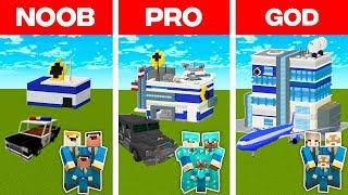 Minecraft NOOB vs. PRO vs. GOD: FAMILY POLICE STATION BUILD CHALLENGE in Minecraft (Animation)