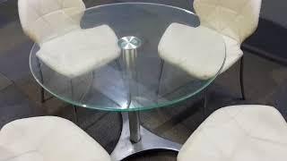 (중고가구다판다) 유리 원형테이블과 의자 세트 판매