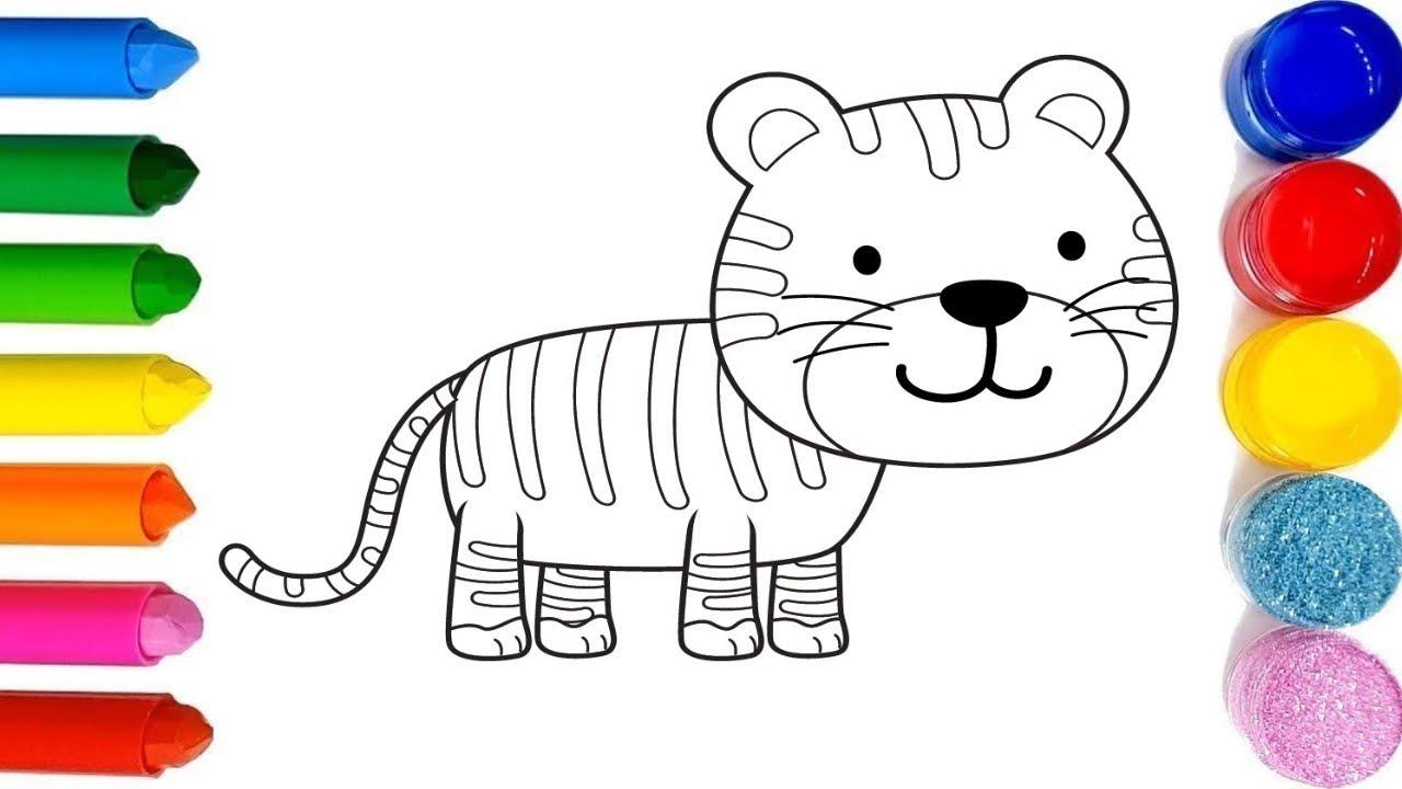 Coloriage Un Tigre Avec Des Couleurs Brillantes Drole Coloriage Brillant Dessin Apprenez Couleurs F Youtube