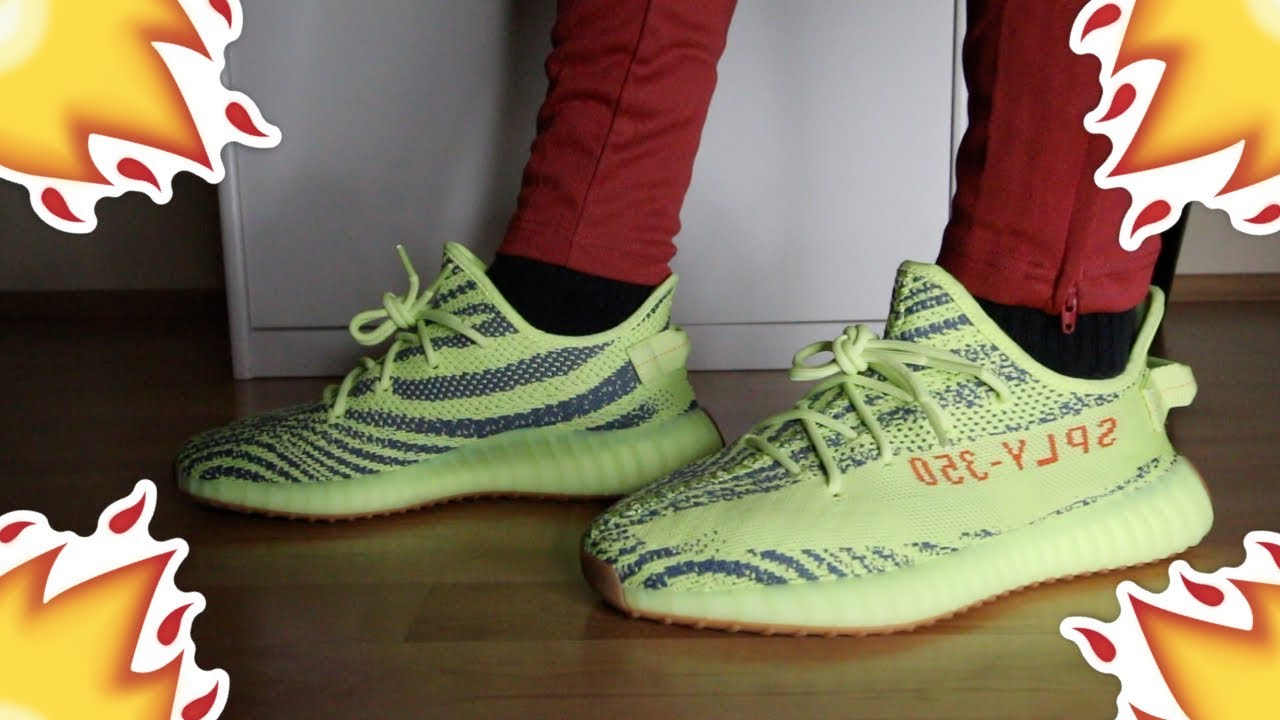 73147f731fd Adidas Yeezy Boost 350 V2  Semi Frozen Yellow  Review On-Feet - YouTube