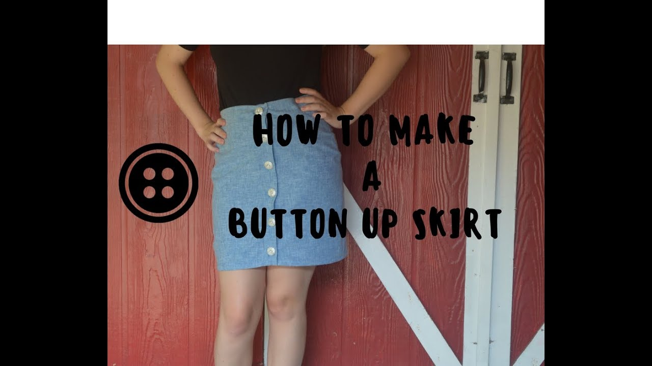How to Make a Button Up Skirt - YouTube