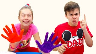 Nastya and Artem play with a new toys