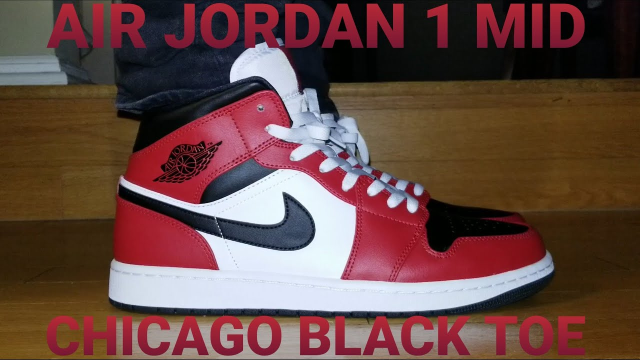 Air Jordan 1 Mid Chicago Black Toe Review On Feet 554724 069
