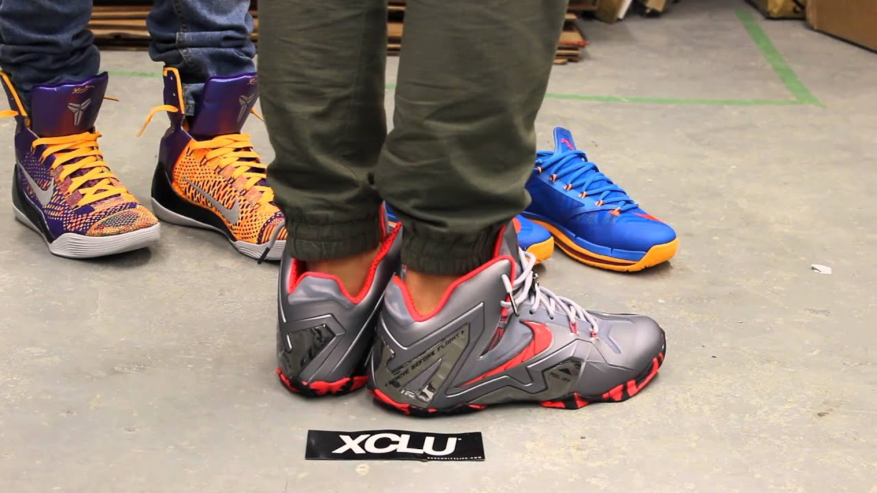 Lebron XI Elite - Wolf Grey - Laser Crimson - On-feet ...