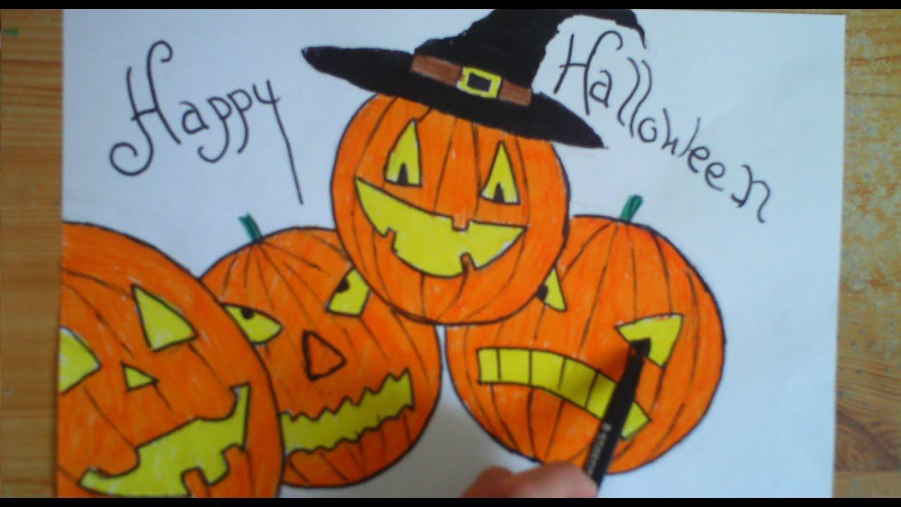 Drawing Halloween Pumpkin | Dessin Halloween citrouille - YouTube