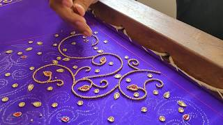 Designer Embroidery on a Lavender Blouse Sleeve