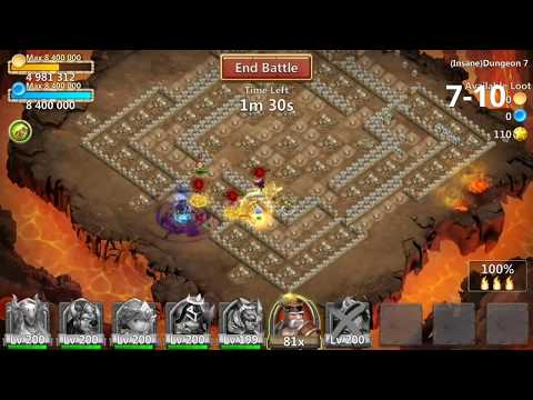 Castle Clash Insane Dungeon 7 1-10 - 7-10 3 flamed