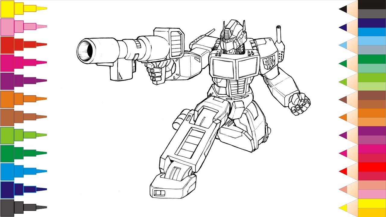 Coloring Pages Transformers Book Videos For Children Learning Brilliant Colors