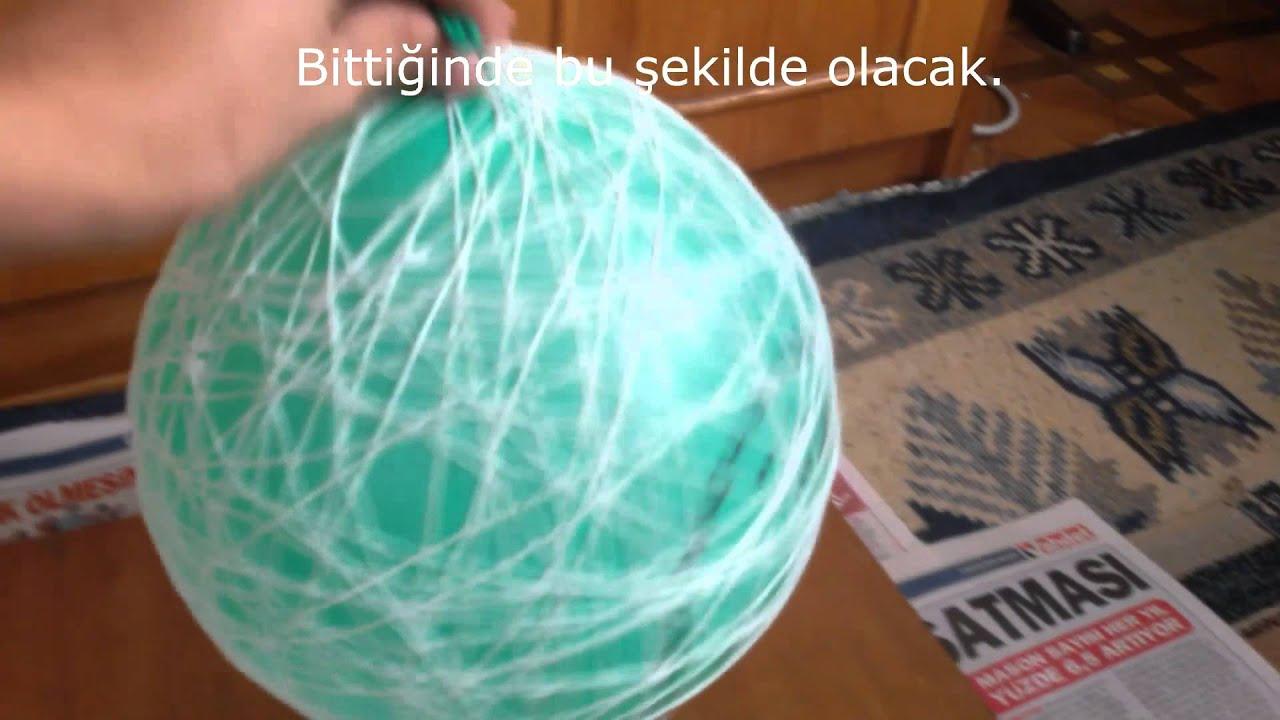 Balonla İpten Avize Yapımı
