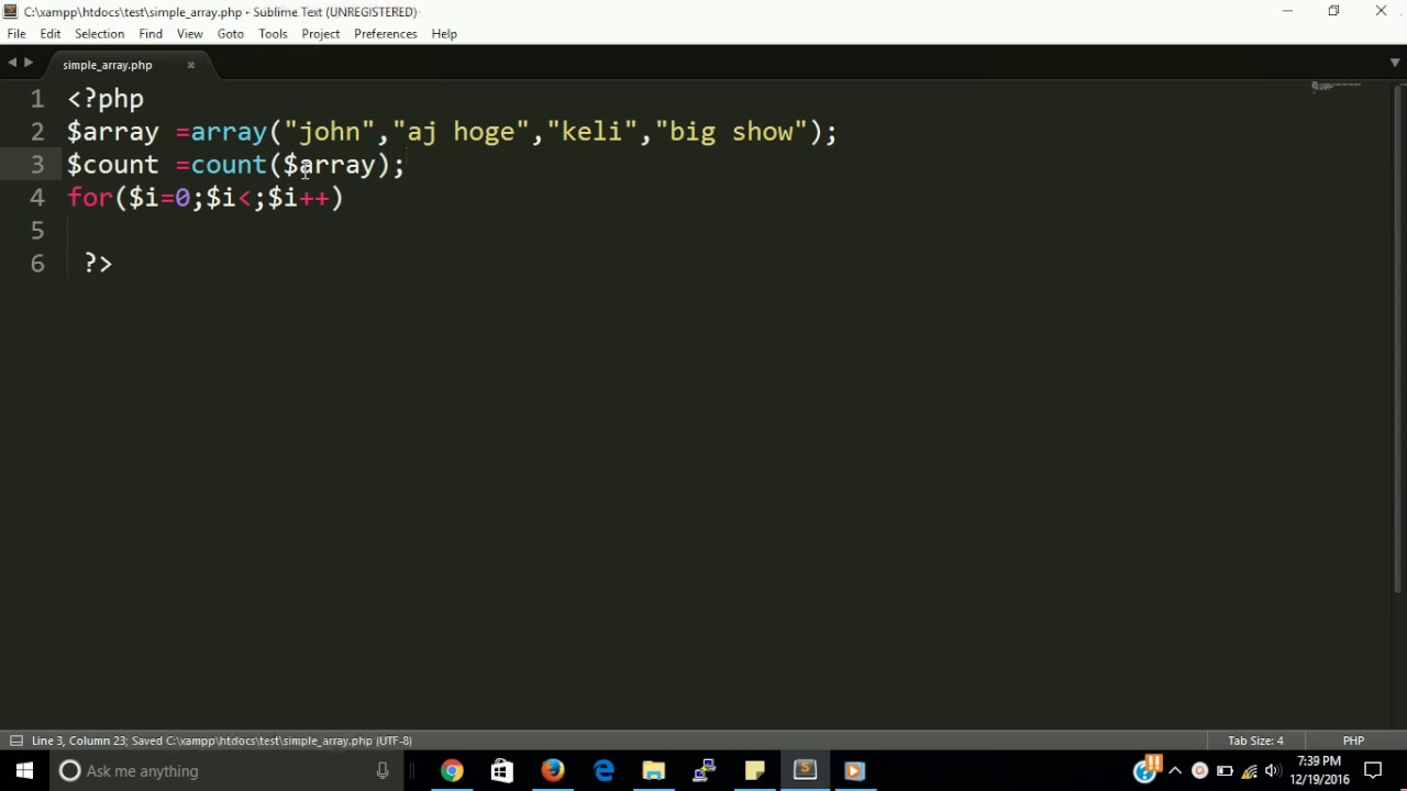 array in php | basic array with oops example | learn php step by step