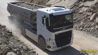 Volvo FH 500 with tipper semitrailer - driving at the quarry