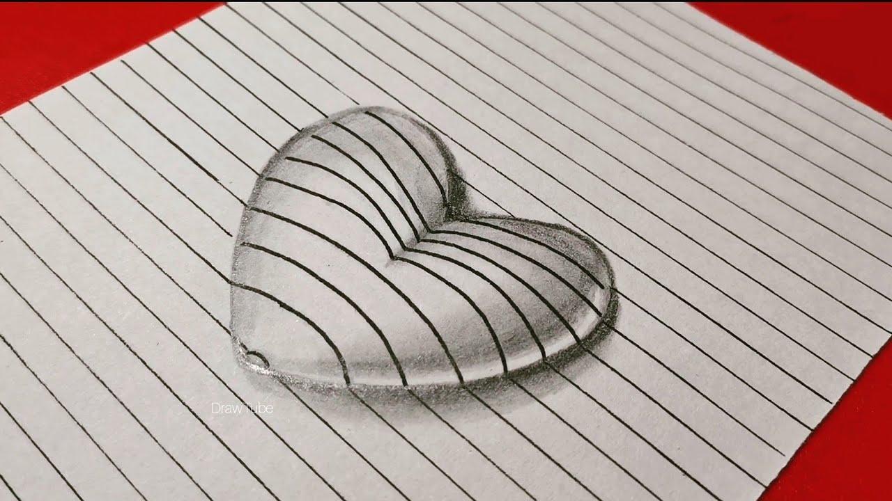 3d رسم قلب ثلاثي الأبعاد رسم سهل بالرصاص طريقة سهلة تعليم للمبتدئين Youtube