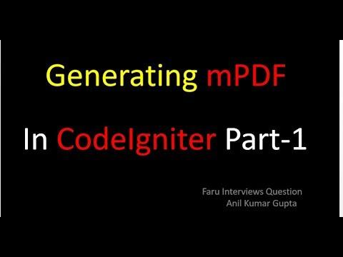 Create PDF Files Using mPDF In CodeIgniter 3 6 in HINDI