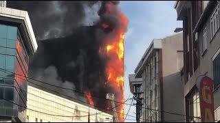 Крупный пожар произошёл в госпитале Стамбуле