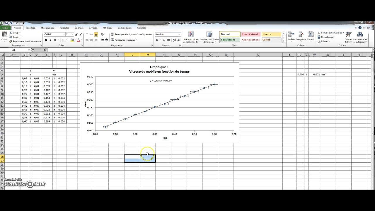 Excel 2010 : Tableau des données, graphique, droitereg, résultats, diagramme de comparaison (1/2 ...