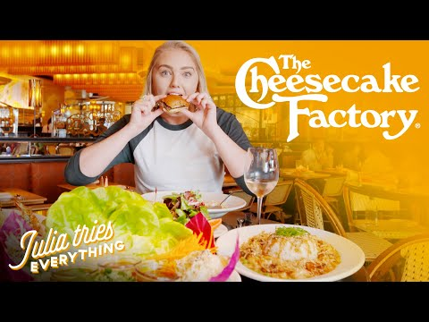 EATING 40 Dishes From The Cheesecake Factory Menu In 2 HOURS | Delish