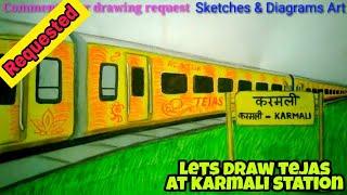 Lets Draw Tejas Express At Karmali Station || Indian Railways || Sketches & Diagrams Art ||